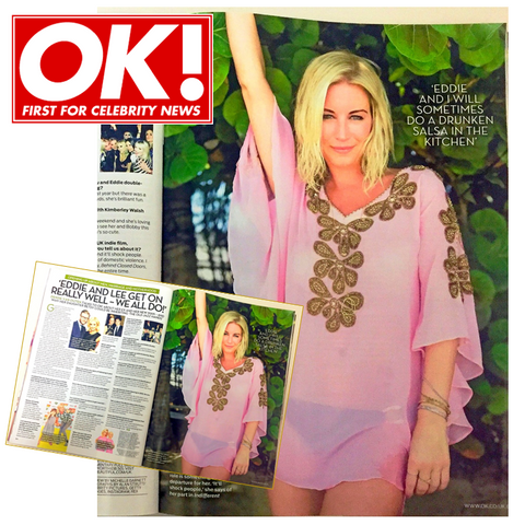 Denise Van OUten wears Pink Kaftan top in OK Magazine in Barbados. Shop pink Denise Van Outen kaftans
