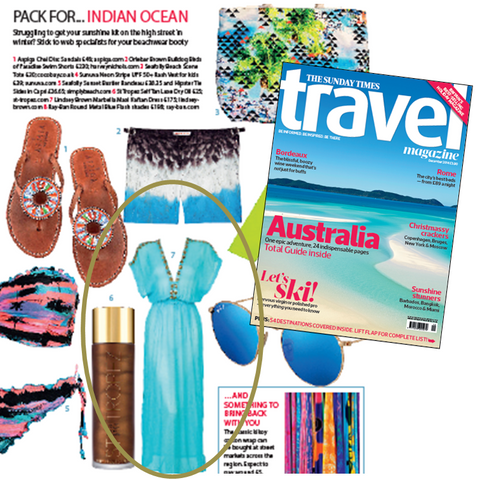 Marbella Kaftan Dress as seen in Sunday Times Travel magazine feature on what to wear in Maldvies