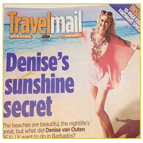 Denise Van Outen wears Pink Designer Kaftan in Daily Mail travel Mail magazine