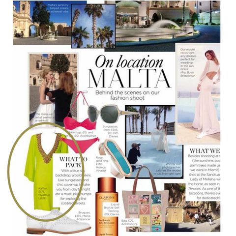 What to wear in Malta on Honeyoon featuring thre Lime Manhattan Silk  Designer Kaftan