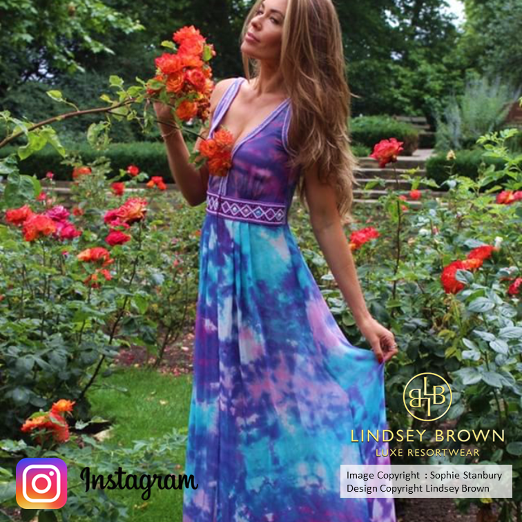 Sophie Stanbury wears Lindsey Brown Resortwear Martinique Silk Dress