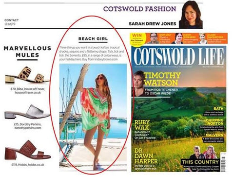 Designer Resort Wear Aqua Sorrento Cover up by Lindsey Brown in Cotswold Life