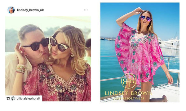 Stephanie Pratt wears pretty Pink Kaftan  by Lindsey Brown
