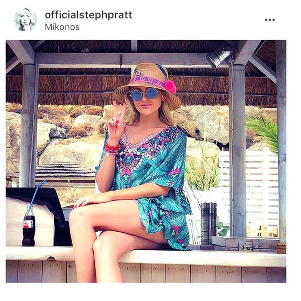 StephaniePratt Aqua Designer Kaftan Top in Mykonos by LindseyBrown Resortwear