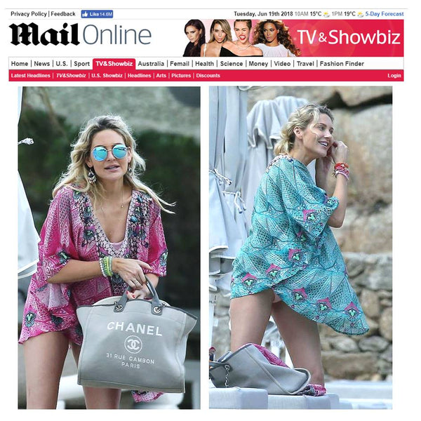 Stephanie Pratt wears Designer Kaftans by LindseyBrown  Resortwear as sene on Daily Mail