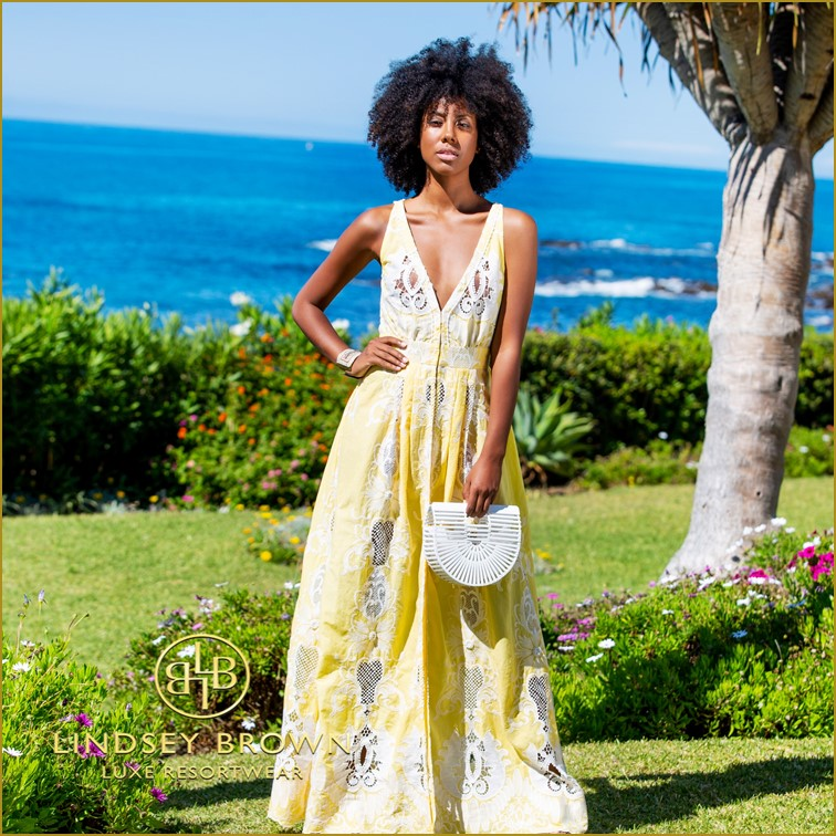 Yellow and White Evening Dress to Wear at a Wedding by Lindsey Brown