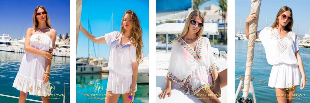 What to wear at a White Party. White Designer Kaftans by Lindsey Brown Resortwear