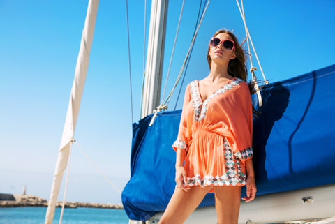 Figure flattering silk kaftan in papaya The Manhattan by LindseyBrown Resortwear