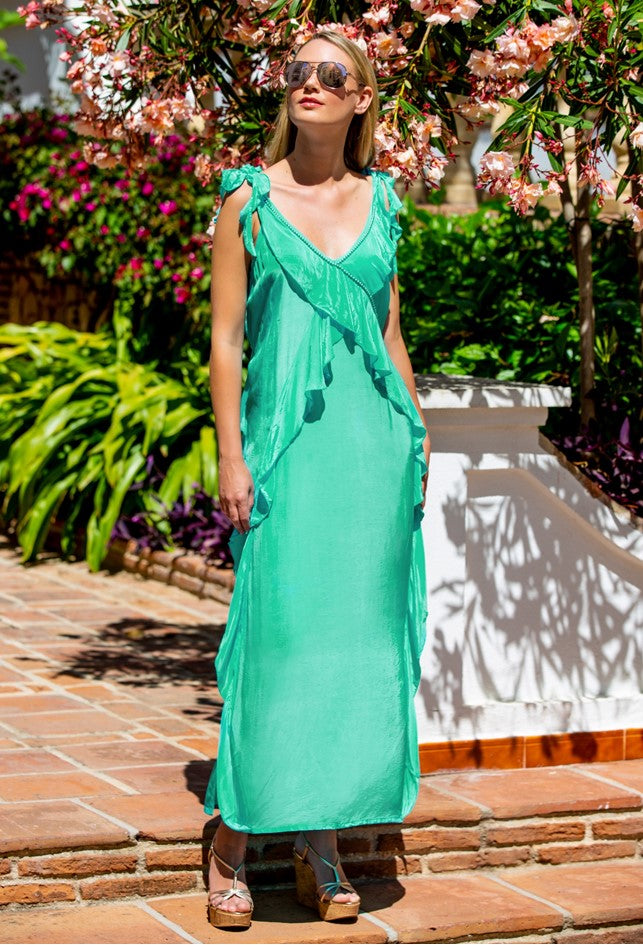 Green Silk Designer Maxi Dress by Lindsey Brown Resort Wear