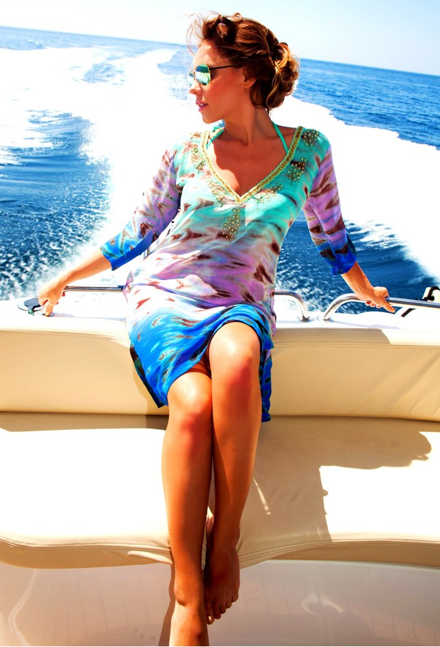 Aqua Knee Length Silk Tie Dye Designer Kaftans by Lindsey Brown resort wear to wear in Caribbean