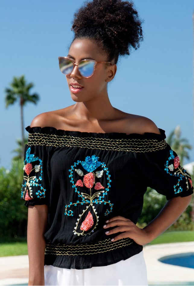 Black Bardot style Holiday top to wear in marbella by Lindsey Brown