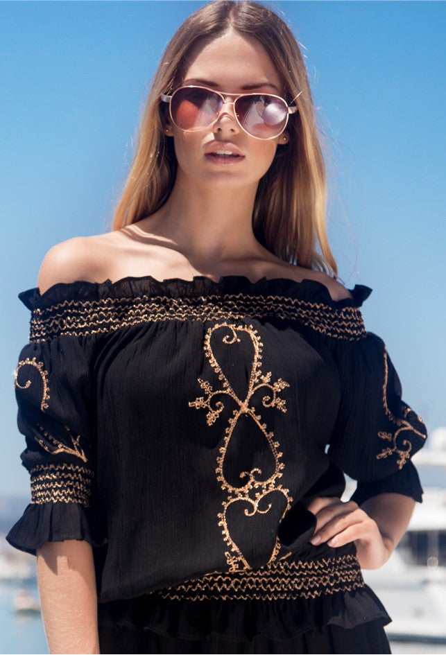 Black Rose Gold bardot off the Shoulder Top to wear in Caribbean by Lindsey Brown