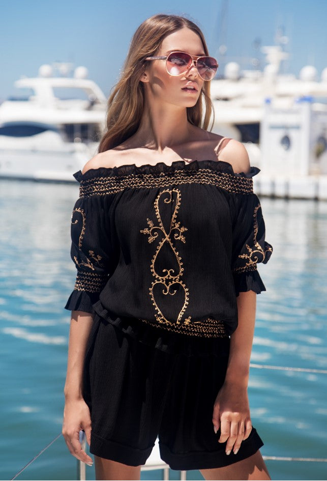 Black Rose Gold bardot off the Shoulder Top to wear in summer by Lindsey Brown