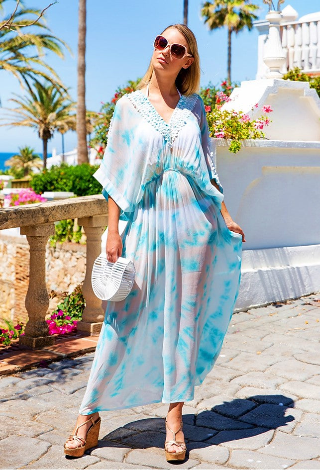 Blue Designer Silk Maxi Kaftans in Tie Dye called Rio by Lindsey Brown