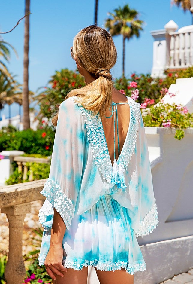 Blue White Tie Dye Designer Kaftans clled Capri by Lindsey Brown