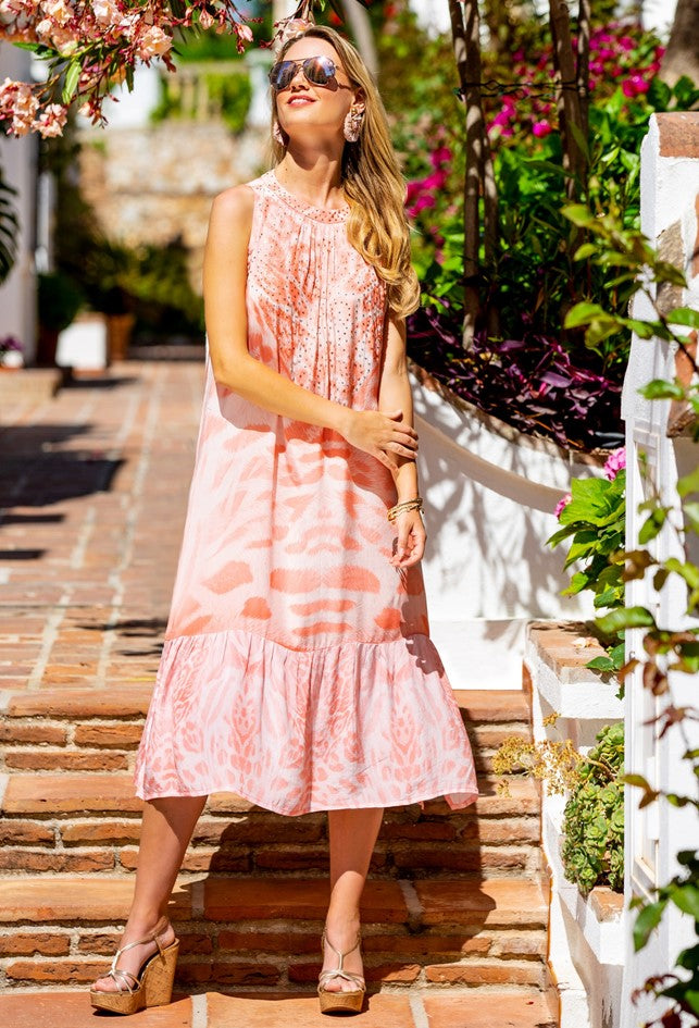 Blush Pink Animal print Sleeveless Summer Dress Midi Lnegth by Lindsey Brown resort wear