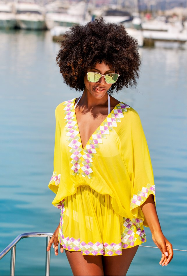 Bright  yellow silk deisgner kaftans to wear in Caribbean by Lindsey Brown are One Size fits S-XL