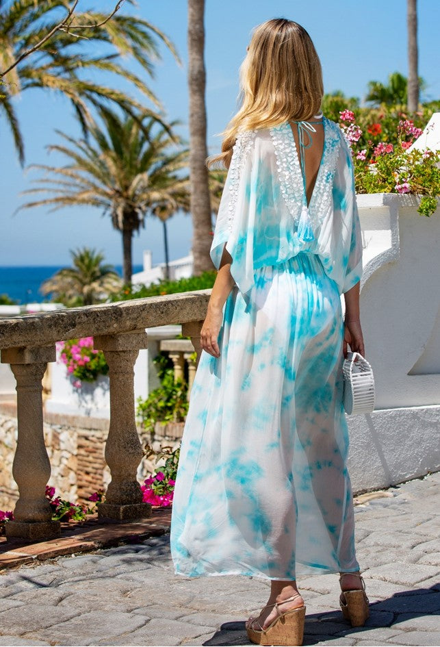 Designer Silk Maxi Kaftans in blue white Tie Dye called Rio by indsey Brown