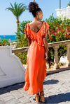Stunning summer maxi dress in vibrant orange is