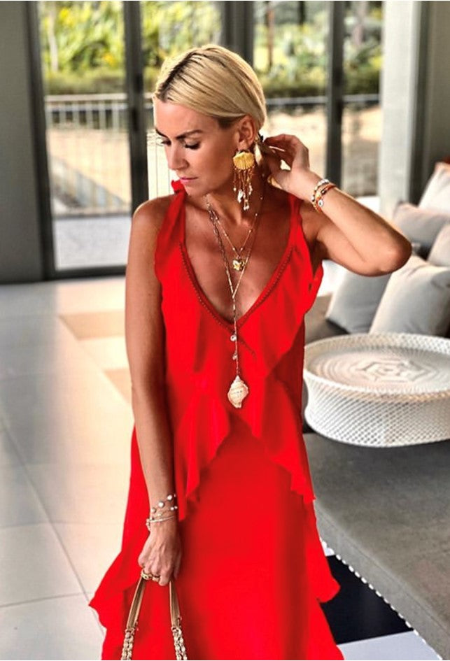 Antigua Red Stunning Maxi Dress worn by Anna Mavridis