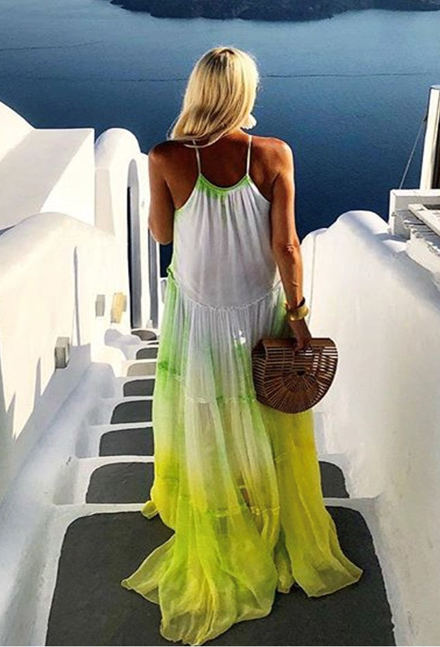 Silk Dress worn by Anna Mavridis to wear in Santorini  by Lindsey Brown is the ultimate floaty holiday dress to wear all Summer, a loose flared fit, hand dyed