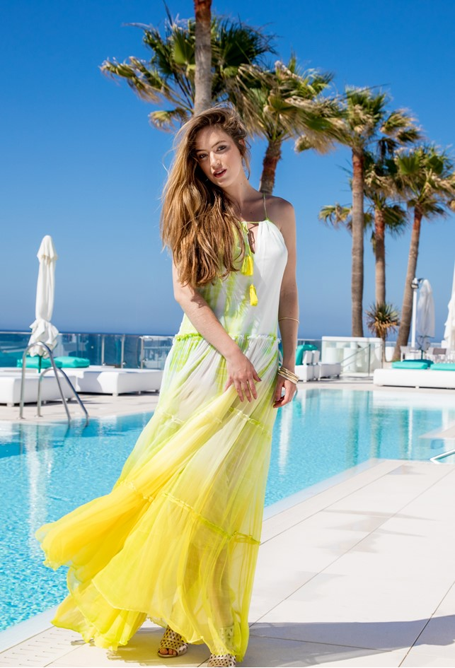 Silk Maxi Dress for Summer in Yellow & Lime by Lindsey Brown