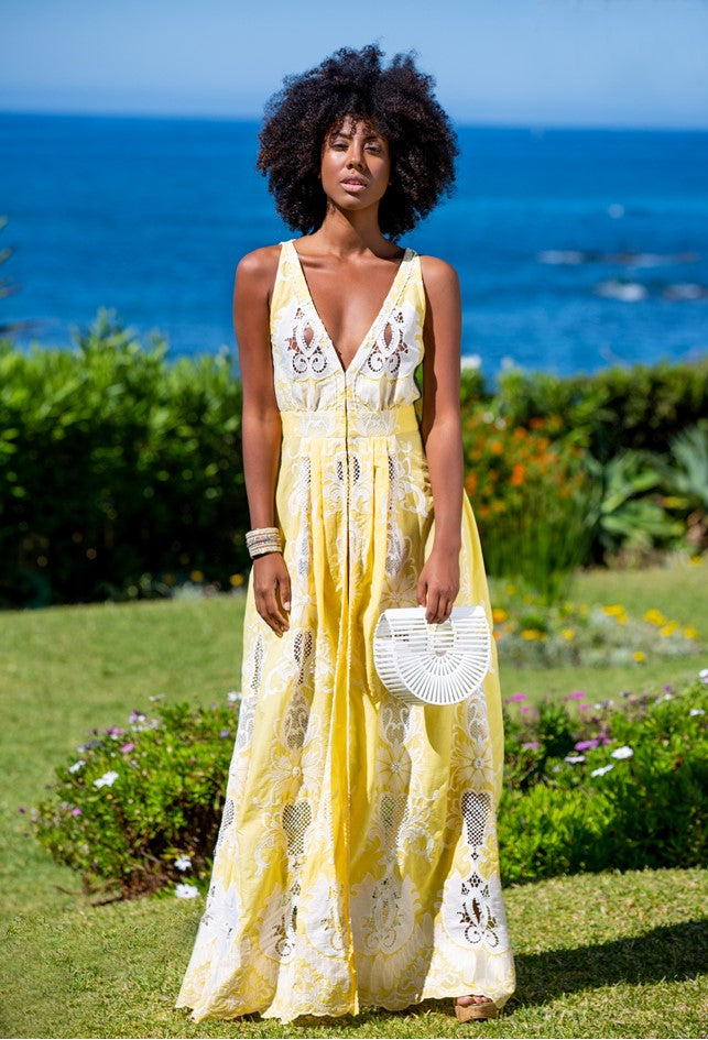 Stunning Yellow Designer Maxi Dress named Margarita is the most stunning dress by Lindsey Brown.