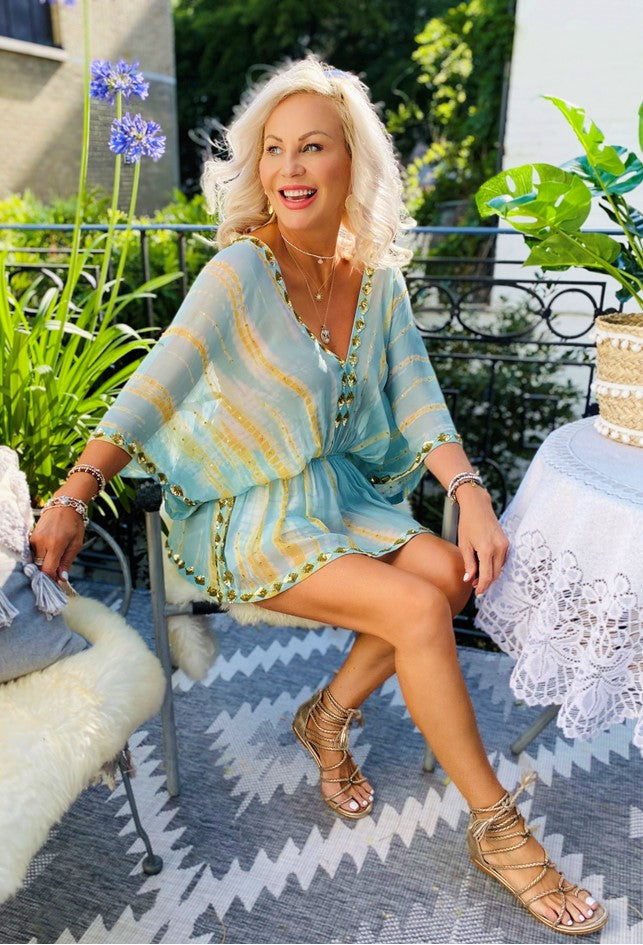 Silk Tie Dye Designer Kaftans, in a subtle Duck Egg blue beautifully hand crafted with gold sequins. One Size fits XS-L  lindsey Brown  Free Express Delivery