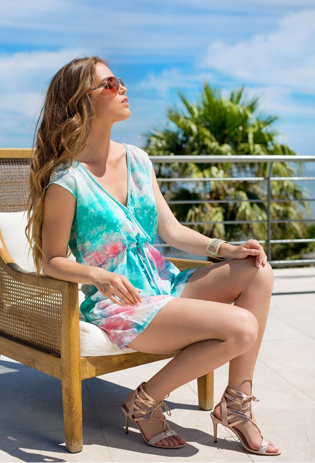 Aqua Silk Tie Dye Romper Playsuit by Lindsey Brown resort wear