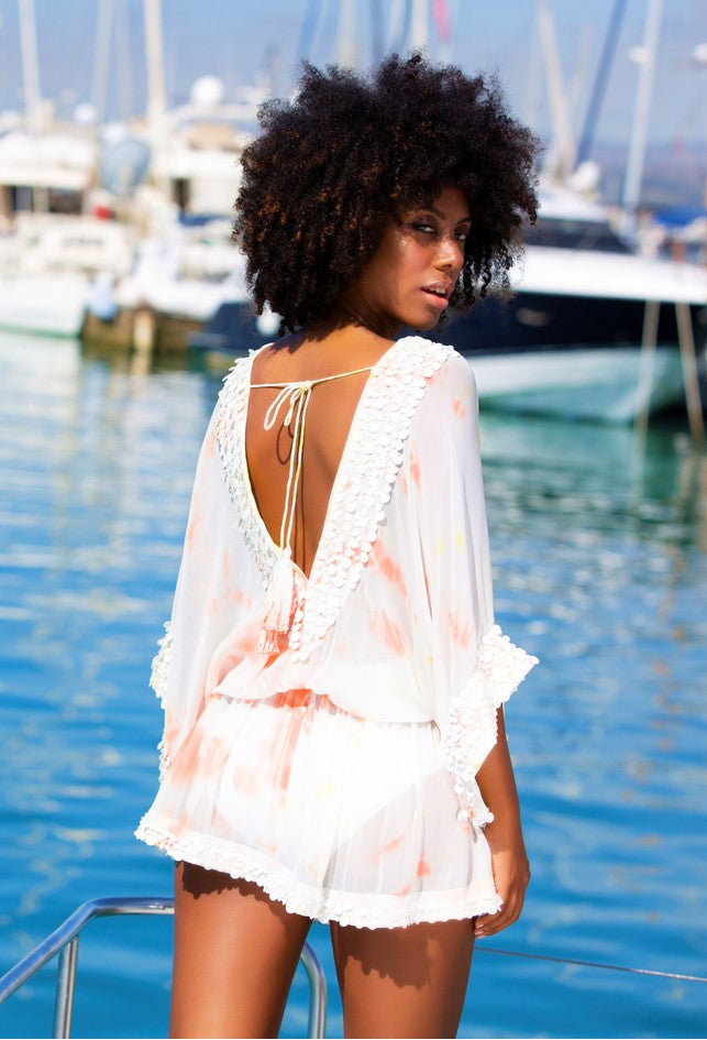 Tie Dye White Silk Designer Kaftans by Lindsey Brown resort wear