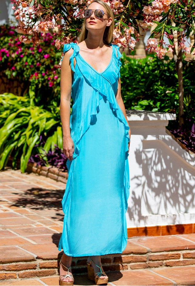 Turquoise Blue Must Have Holiday Maxi Dresses, named Antigua as worn by Anna Mavridis by Lindsey Brown