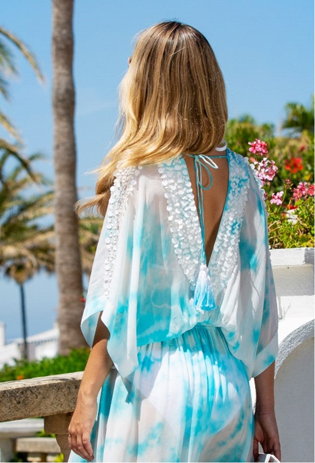 V Neck Designer Silk Maxi Kaftans in Tie Dye called Rio by Lindsey Brown