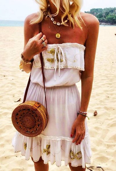 White Strapless Designer Beach Dresses Atheni worn by Annna Skoog.