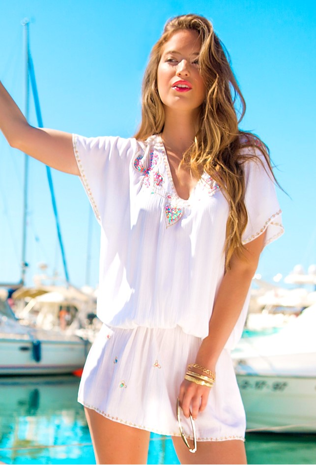 White Cotton Drop Waist Dress to wear on holiday by Lindsey Brown resort wear