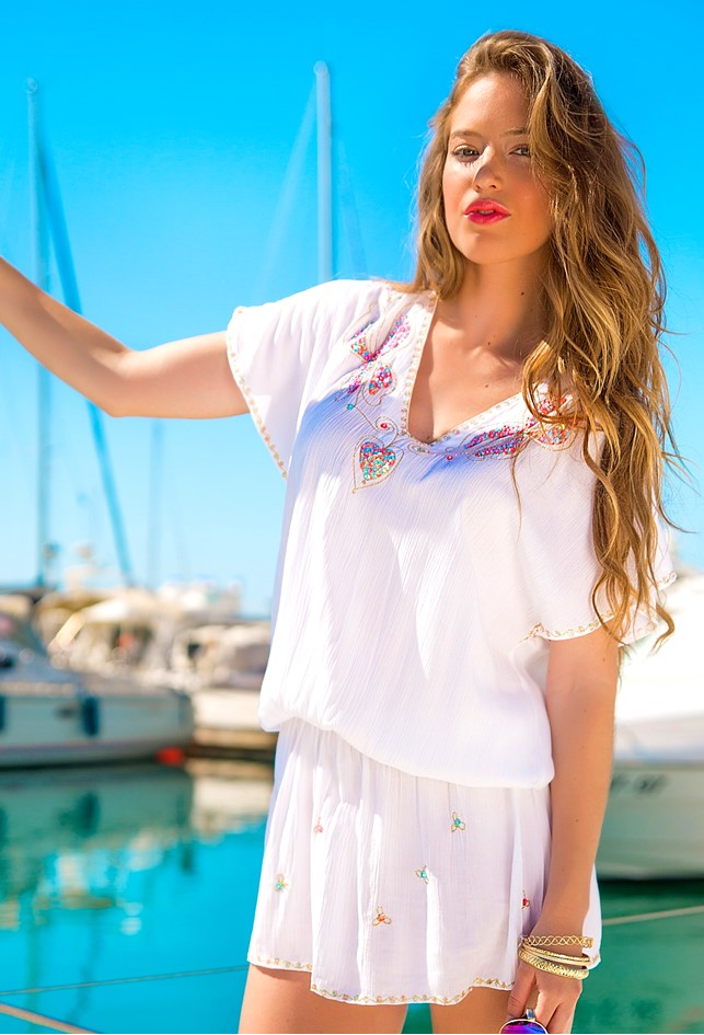 White Cotton Luxury Drop Waist Dress to wear on holiday by Lindsey Brown resort wear