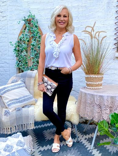 Florence White Sleeveless Ruffles Holiday Top to wear in Caribbean by Lindsey Brown resort wear