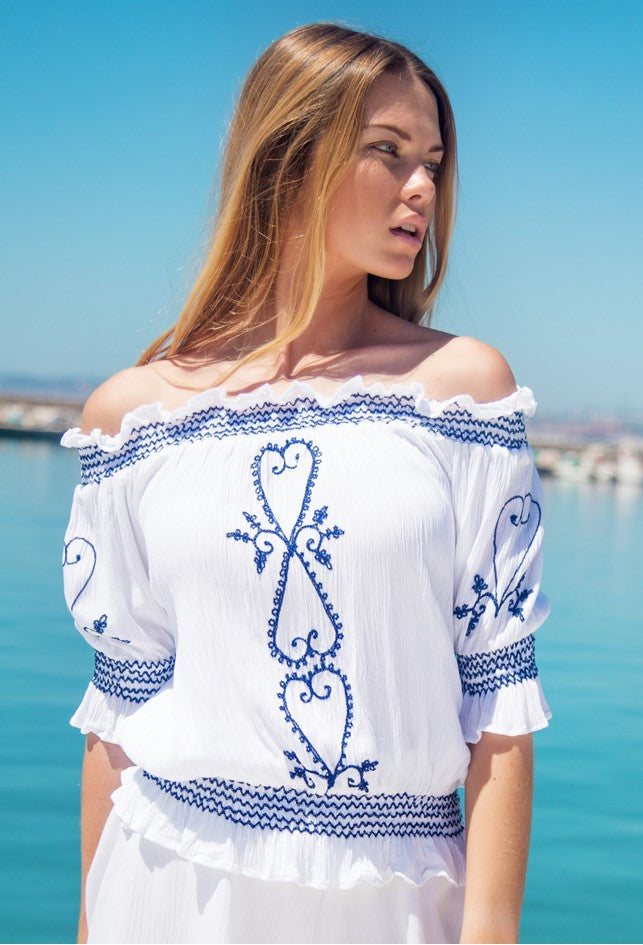 White & Navy bardot off the shoulder tops to wear with shorts and jeans by Lindsey Brown