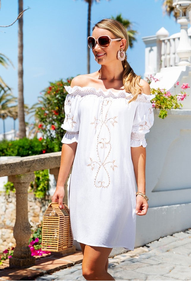 White bardot Off the Shoulder Holiday Dress called St Barts by Lindsey Brown