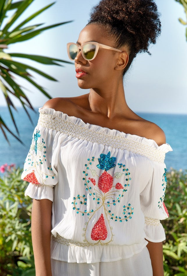 white pretty cotton of the shoulder holiday top to wear all summer  by Lindsey Brown