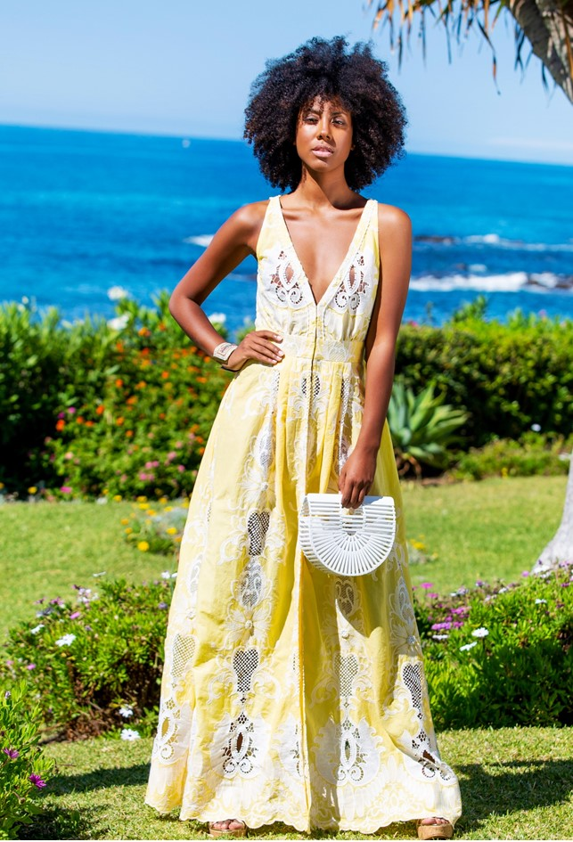 Yellow Designer Maxi Dress named Margarita is the most stunning dress by Lindsey Brown to wear to a Summer wedding
