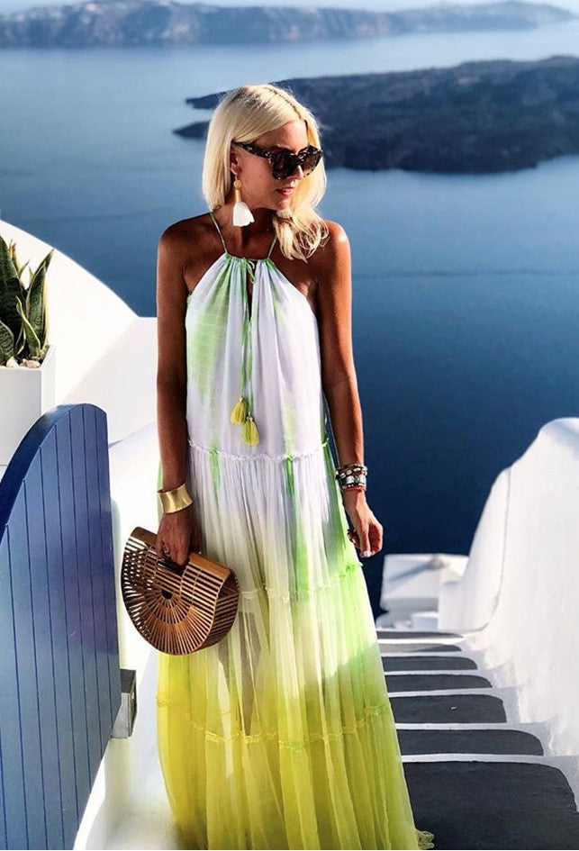 silk Maxi Dress worn by Anna Mavridis by Lindsey Brown is the ultimate floaty holiday dress to wear all Summer, a loose flared fit, hand dyed