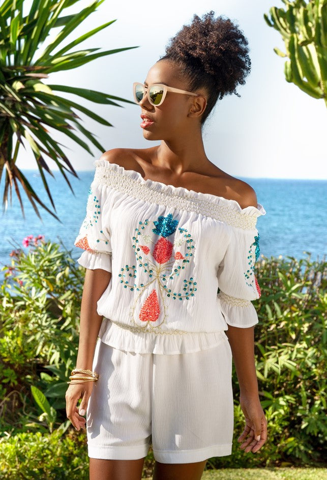white cotton bardot style off the shoulder top to wear all summer by lindsey brown
