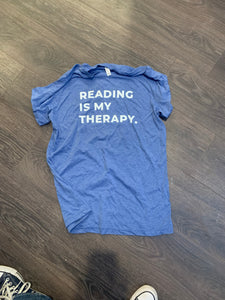 Blue Reading Is My Therapy short sleeve Shirt