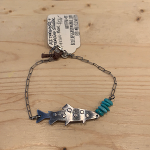 Turquoise and Oxidized sterling trout bracelet SPECIAL-BRAC