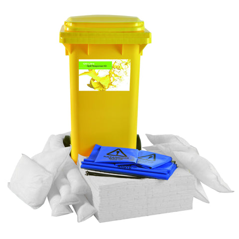 "Oil Selective ""Sustainable"" Spill Kit Yellow 2 Wheel PE Bin 120ltr - 120OS2WK"