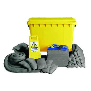Maintenance Spill Kit Yellow 4 Wheel PE Bin 600ltr - 600M4WK