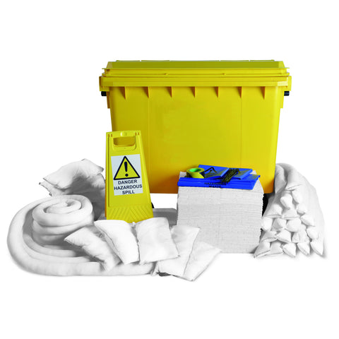 Oil Selective Spill Kit Yellow 4 Wheel PE Bin 600ltr - 600O4WK