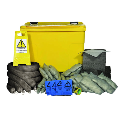 Maintenance Spill Kit Yellow 4 Wheel PE Bin 900ltr - 900M4WK