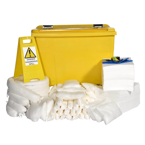 Oil Selective Spill Kit Yellow 4 Wheel PE Bin 900ltr - 900O4WK