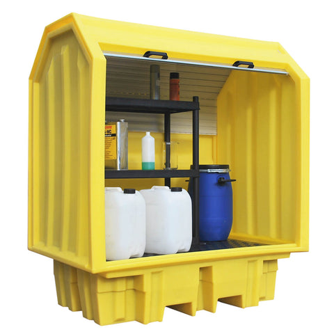 Drum Spill Pallet with shelving unit hard cover - BP2HCS